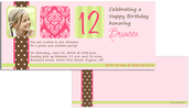 Product Image For Chocolate Polka Dots with Damask Birthday Invitation