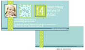 Product Image For Lime Polka Dots Band with Circles Birthday Invitation