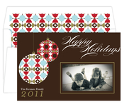 Product Image For Festive Ornament Brown and Red Digital Photo Card