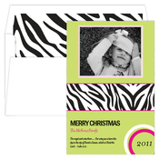 Product Image For Zany Zebra Green Digital Photo Card