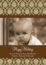 Product Image For Reverse Damask Brown Digital Photo Card