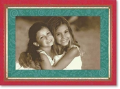 Product Image For Red & Green Border with Gold dots Photo Card