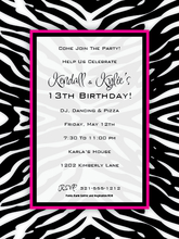 Product Image For Zany Zebra Digital Invitation