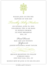 Product Image For Ornate Cross Scroll Green Baptism Invitation