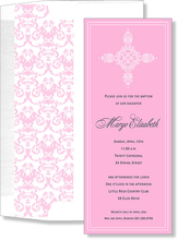 Product Image For Filigree Cross-Pink Invitation with Liner