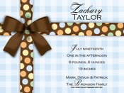 Product Image For Brown Bow on Blue Gingham Digital Invitation
