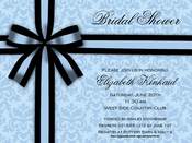 Product Image For Black Bow on Blue Invitation