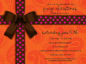 Product Image For Brown Bow on Orange Paisley Digital Invitation