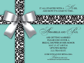 Product Image For White Bow On Blue Digital Invitation
