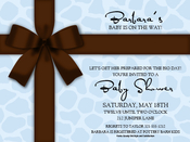 Product Image For Brown Bow on Blue Giraffe Digital Invitation