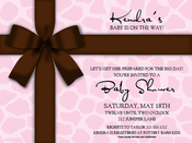 Product Image For Brown Bow on Pink Giraffe Digital Invitation