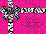 Product Image For Black and White Zebra Bow on Pink Damask Digital Invitation