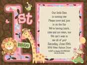 Product Image For 1St Birthday Animals Pink Digital Invitation