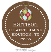 Product Image For Argyle Ornament Drop Address Label