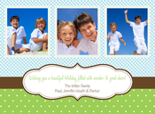 Product Image For Gingham Dots Blue & Green Photo Card
