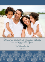 Product Image For Blue and Grey Damask Digital Photo Card