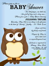 Product Image For Owl Blue Invitation
