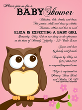 Product Image For Owl Pink Invitation