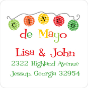 Product Image For Cinco de Mayo Paper Lanterns Square address Label