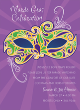 Product Image For Mardi Gras Mask Invitation