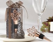 Product Image For Lustrous Leaf Copper Finish Bottle Stopper in Gift Box