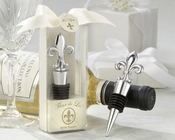 Product Image For Fleur de Lis Elegant Chrome Bottle Stopper