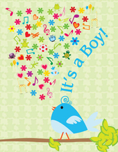 Product Image For Boy Birdie Note Card