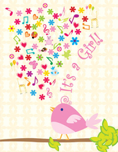 Product Image For Girl Birdie Note Card