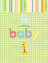Product Image For Welcome Baby Animal Note Card
