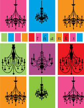Product Image For Chandelier Silhouette Note Card