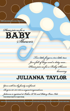 Product Image For Baby Boy Umbrella Invitation