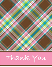 Product Image For Pink Choco Plaid Note Card