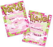 Product Image For Camo Girl Fill In Inviations and Thank You Set