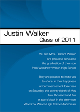 Product Image For Modern Band Grad Invitation-Blue and White