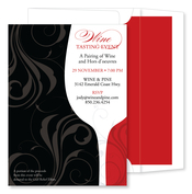 Product Image For Swirled Bouquet Black Invitation- With lined envelopes