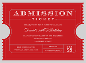 Product Image For Admission Ticket Red Invitation