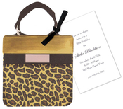 Product Image For Leopard Handbag with Black Ribbon Die Cut Invitation