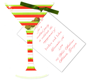 Product Image For Red and Green Holiday Martini With Green Ribbon Invtiation