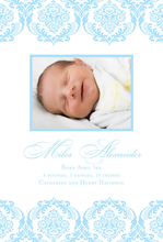Product Image For Snowy-Blue Damask Digital Photo Announcement