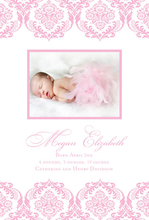 Product Image For Sugary-Pink Damask Arrival Digital Photo Announcement