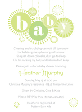 Product Image For Baby Ornaments Lime Invitation