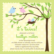 Product Image For Bird Tree Egg Boy Girl Twins Invitation