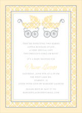 Product Image For Damask Pram Twins Buttercup Invitation