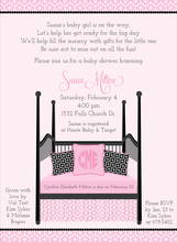 Product Image For Four Post Crib Pink & Black Invitation