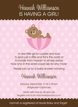 Product Image For Polka Dot Teddy Pink Invitation