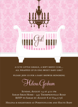 Product Image For Sleigh Crib Pink & Chocolate Invitation