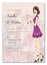 Product Image For Cute Champagne Girl Invitation