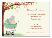 Product Image For Green Beautiful Bassinet Invitation (WHITE)