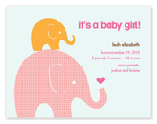 Product Image For Mommy and Baby Elephant (Pink) Invitation