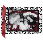 Product Image For Black and White Damask With Red Ribbon Layered Card